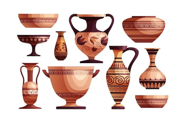 Античная греческая ваза с декором древняя традиционная глиняная банка или горшок для вина