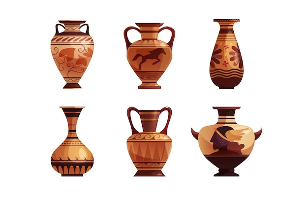 Antique greek vase with decoration ancient traditional clay jar or pot for wine vector cartoon ill