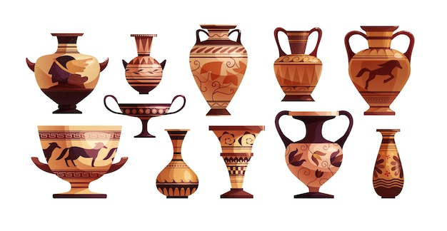 Antique greek vase with decoration ancient traditional clay jar or pot for wine
