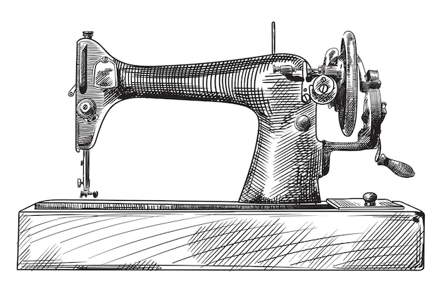 Antique hand sewing machine on a wooden base sketch