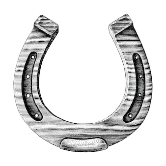 Antique of horseshoe hand draw illustration vintage engraving style isolated on white background