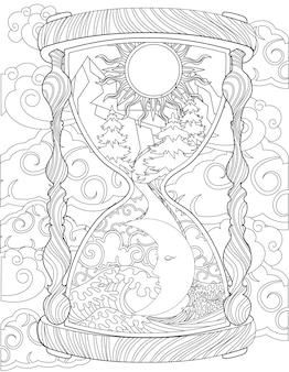 Antique hourglass drawing showing sun and moon inside surrounded by clouds. old sand clock line drawing appearing day and night enclosed with strong winds.