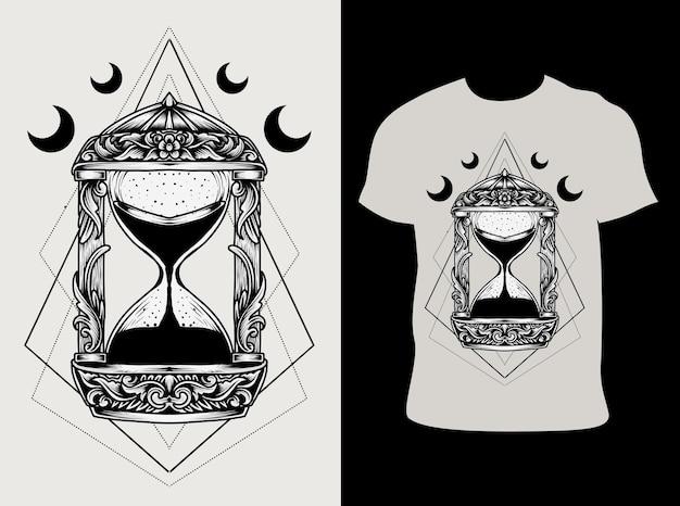 Старинные песочные часы иллюстрация с дизайном футболки