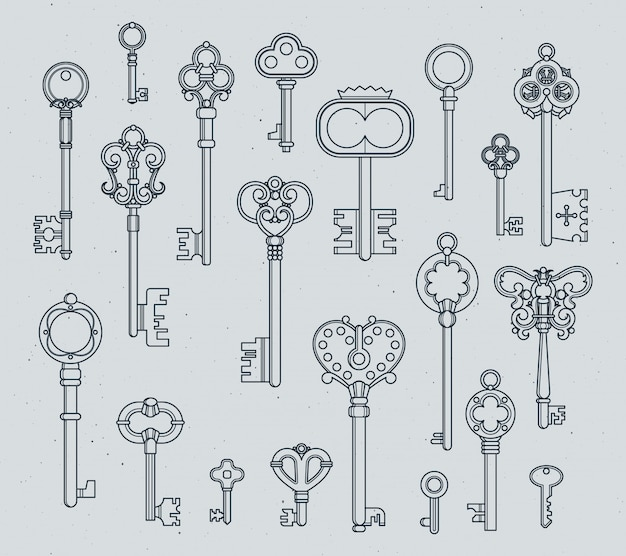 Antique keys set. hand drawn medieval vector illustrations of old objects isolate on white