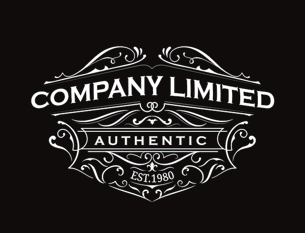 Antique label typography vintage frame logo design
