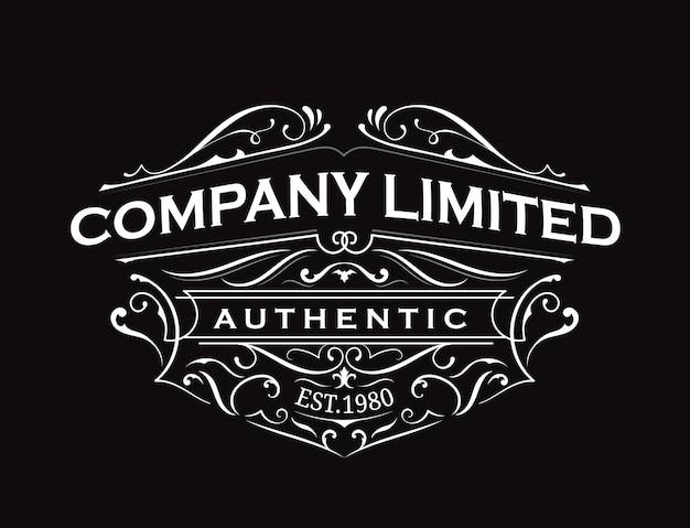 Старинная этикетка типографии винтажная рамка дизайн логотипа