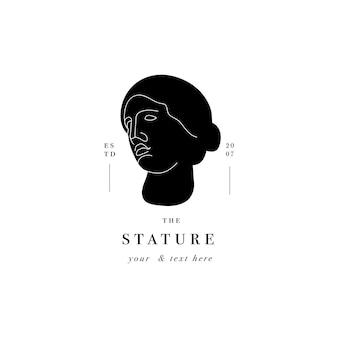 Antique logo venera head statue. ancient greek or roman style elements.