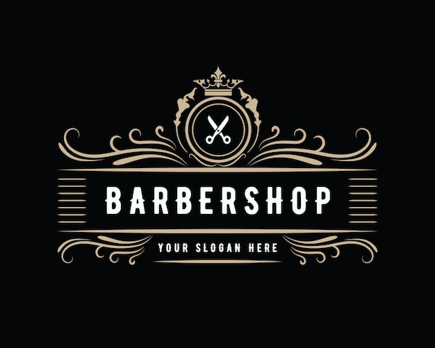 Antique luxury vintage western style barbershop logo design suitable for salon spa beauty hairdresser fashion hair care and skin care barber shop business