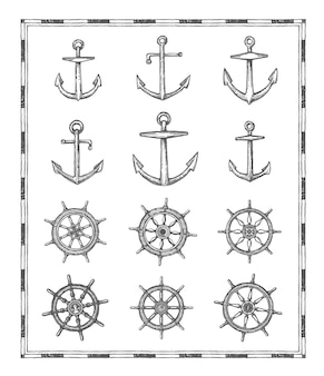 アンティークの地図要素、帆のアンカーとヘルムのスケッチ