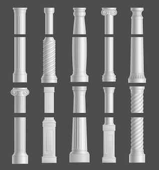 Antique marble columns white ancient classic pillars.