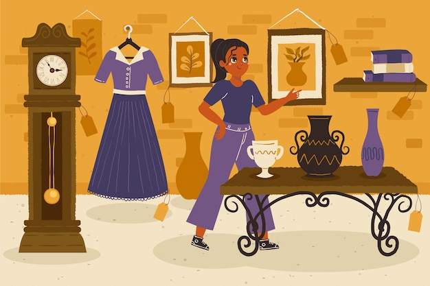 Antique market illustrated with seller