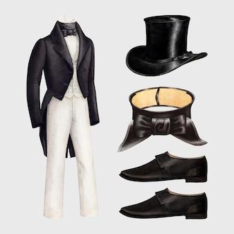 パブリックドメインコレクションからリミックスされたアンティークメンズファッションベクター衣装デザイン要素セット
