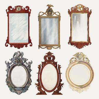 Insieme di elementi di disegno vettoriale di specchi antichi, remixato dalla collezione di pubblico dominio