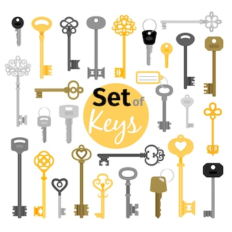 Antique and modern keys in flat style