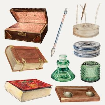 Insieme di elementi di disegno vettoriale di cancelleria per ufficio antico, remixato dalla collezione di pubblico dominio