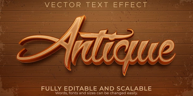 Antique old text effect, editable retro and ancient text style