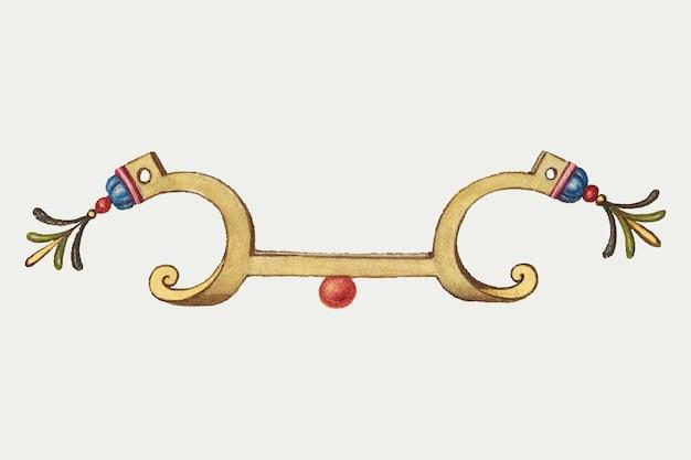 Старинная декоративная золотая эмблема