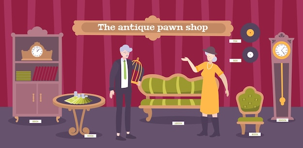 Antique pawnshop customers looking  for furniture vinyl records clock  valuable collectible interior objects