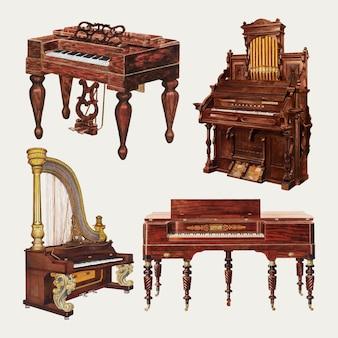 パブリックドメインコレクションからリミックスされたアンティークピアノとオルガンのベクターデザイン要素セット