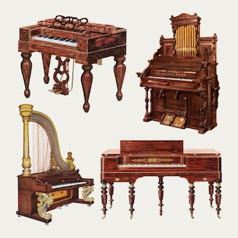 Antique piano and organ vector design element set, remixed from public domain collection