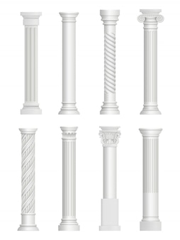 Antique pillars. baroque column for facade roman architectural style  realistic collection