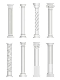 Antique pillars. baroque column for facade roman architectural style  realistic collection