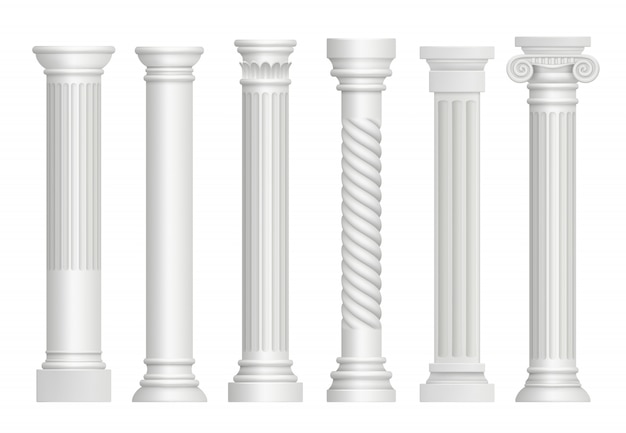 Antique pillars. greek historical rome classic columns vector realistic illustrations