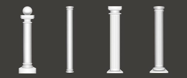 Antique pillars isolated on white