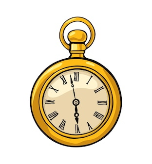 アンティーク懐中時計ヴィンテージベクトルカラーフラットイラスト白い背景で隔離