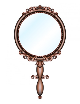 Antique retro hand mirror isolated.