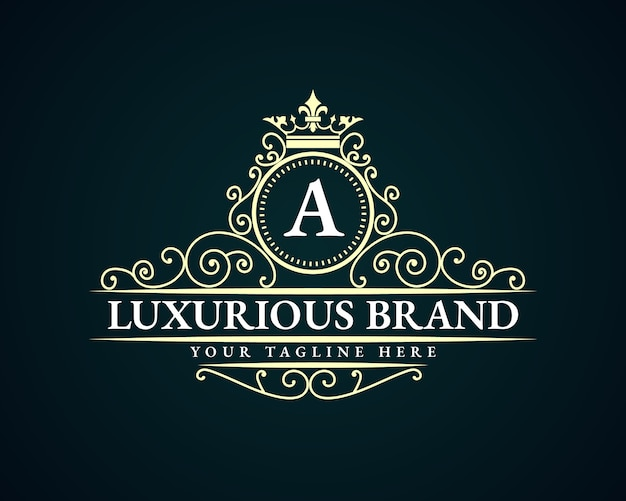 Antique retro luxury victorian calligraphic emblem logo with ornamental frame suitable for barber wine carft beer shop spa  beauty salon boutique antique restaurant hotel resort classic royal brand
