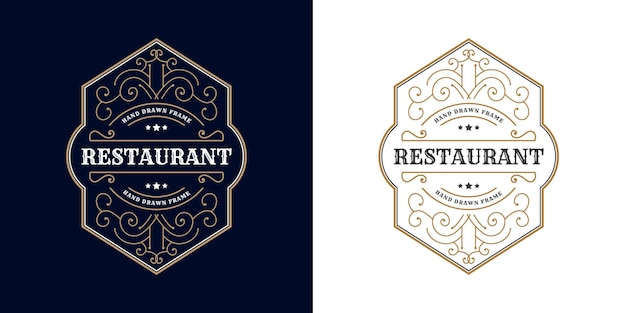 Antique retro luxury victorian calligraphic emblem logo with ornamental frame suitable for barber wine craft beer shop spa  beauty salon boutique antique restaurant hotel