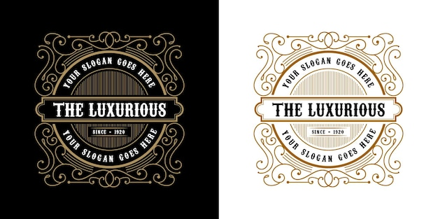 Античный ретро роскошный викторианский каллиграфический логотип с эмблемой с декоративной рамкой, подходящий для парикмахера, винного ремесла, пивного магазина, спа, салона красоты, бутика, антикварного ресторана, отеля