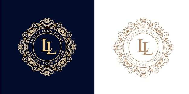 装飾的なフレームとアンティークレトロな豪華なビクトリア朝のカリグラフィエンブレムロゴ