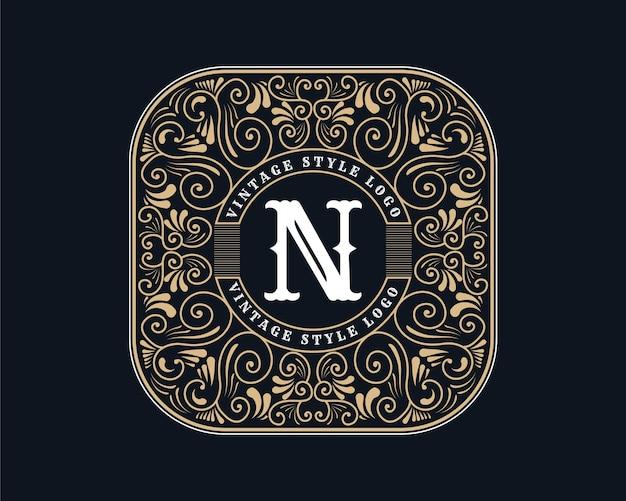 Antique retro luxury victorian calligraphic emblem logo with ornamental frame
