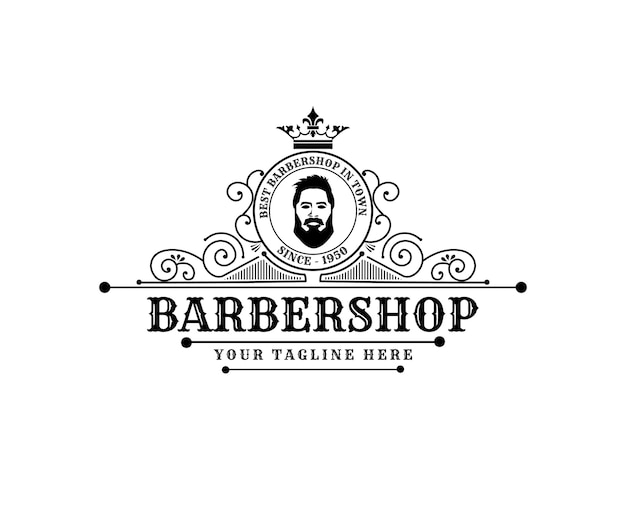 Antique retro luxury victorian calligraphic logo with ornamental frame for barbershop hair salon