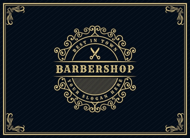 Antique retro luxury victorian calligraphic logo with ornamental frame suitable for barber wine carft beer shop spa  beauty salon boutique antique restaurant hotel resort classic royal brand