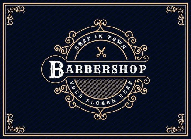 Antique retro luxury victorian calligraphic logo with ornamental frame suitable for barber