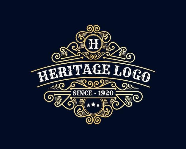 Античный ретро роскошный викторианский каллиграфический логотип с орнаментальной рамкой подходящее