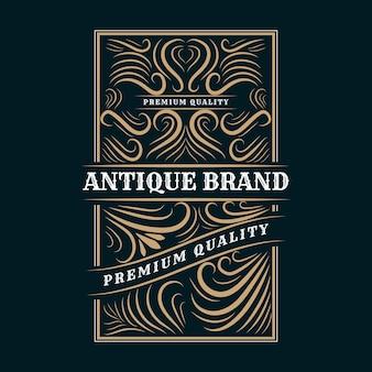 装飾的なフレームとアンティークのレトロで豪華なビクトリア朝の書道のロゴ