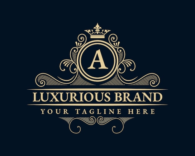 Antique retro luxury victorian calligraphic  logo
