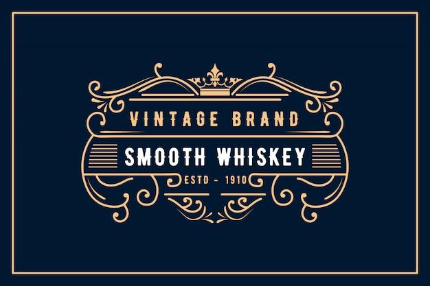 ワインウイスキービールビバージショップアンティークショップ、歴史的な店、レストラン、ホテル、リゾートクラシックロイヤルブランドに適した装飾用フレームが付いたアンティークレトロで豪華なビクトリア朝の書道のロゴ