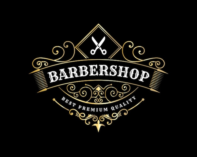 Antique royal luxury shiny victorian calligraphic logo with ornamental frame for barbershop hair salon beauty spa