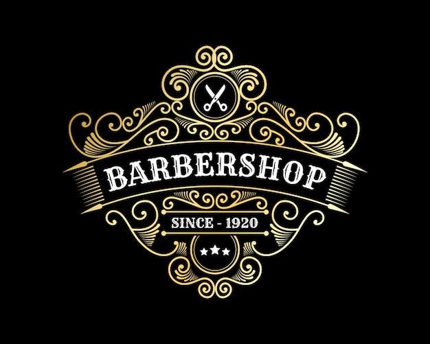 理髪店のヘアサロンビューティースパの装飾用フレーム付きのアンティークロイヤルラグジュアリー光沢のあるビクトリア朝の書道のロゴ