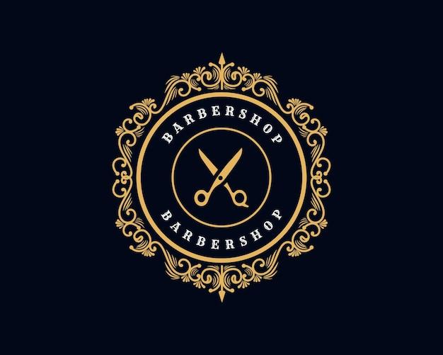 이발소 미용실을 위한 장식용 프레임이 있는 골동품 로얄 럭셔리 빅토리아 서예 로고