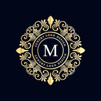 装飾的なフレームが付いているアンティークの王室の贅沢なビクトリア朝の書道のロゴ。