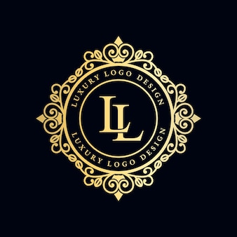 Antique royal luxury victorian calligraphic logo with ornamental frame.