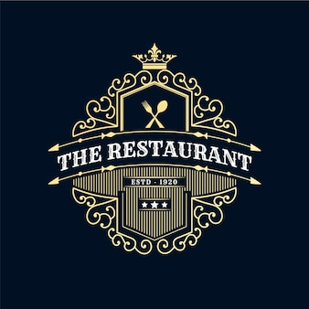 Antique royal retro luxury logo with ornamental frame for hotel restaurant cafe coffee shop