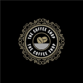 Antique royal retro luxury logo with ornamental frame for hotel restaurant cafe coffee shop