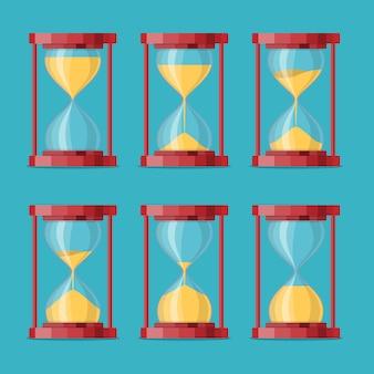 Антикварные песочные часы с анимацией листа спрайтов. набор песочных таймеров